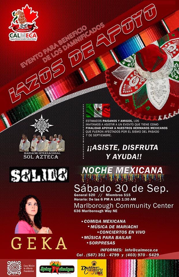 Sabado 30 de septiembre para los damnificados de Mexico