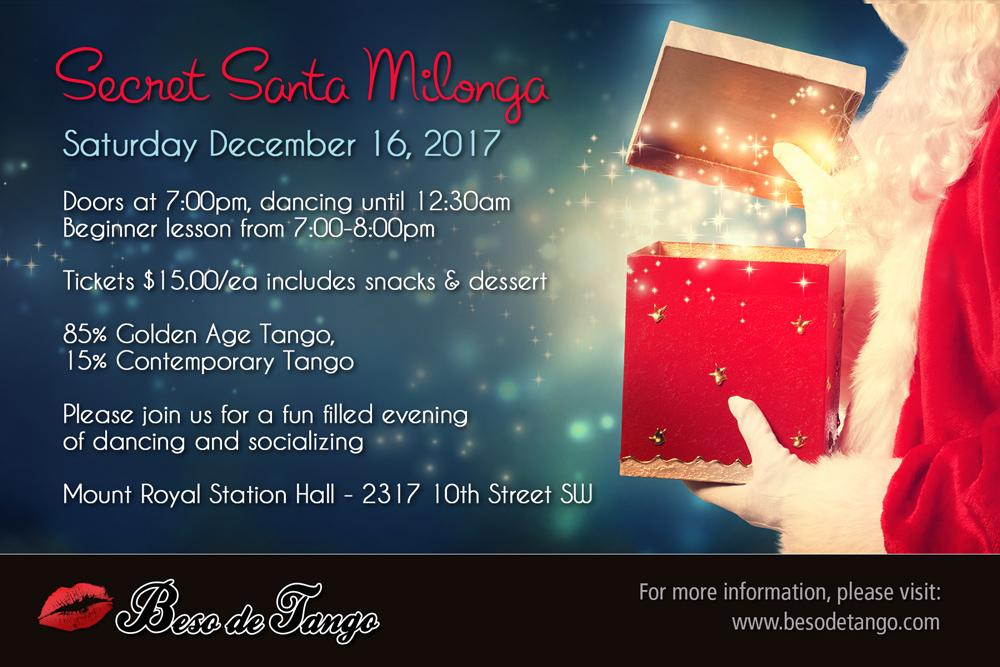"Diciembre 16-2017 Beso de Tango ""Secret Santa"" Milonga"