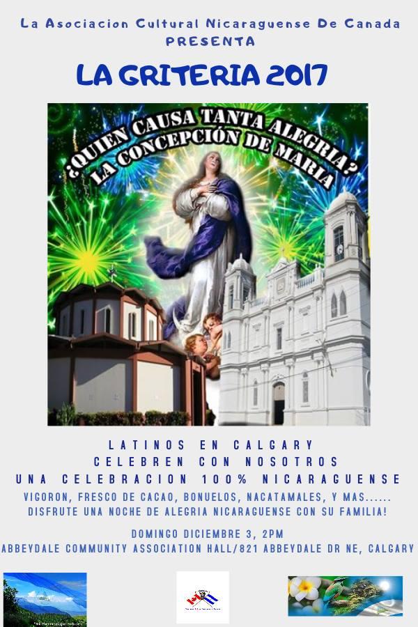 Diciembre 3-2017 La Griteria 2017-(Nicaraguan Cultural Association in Canada)