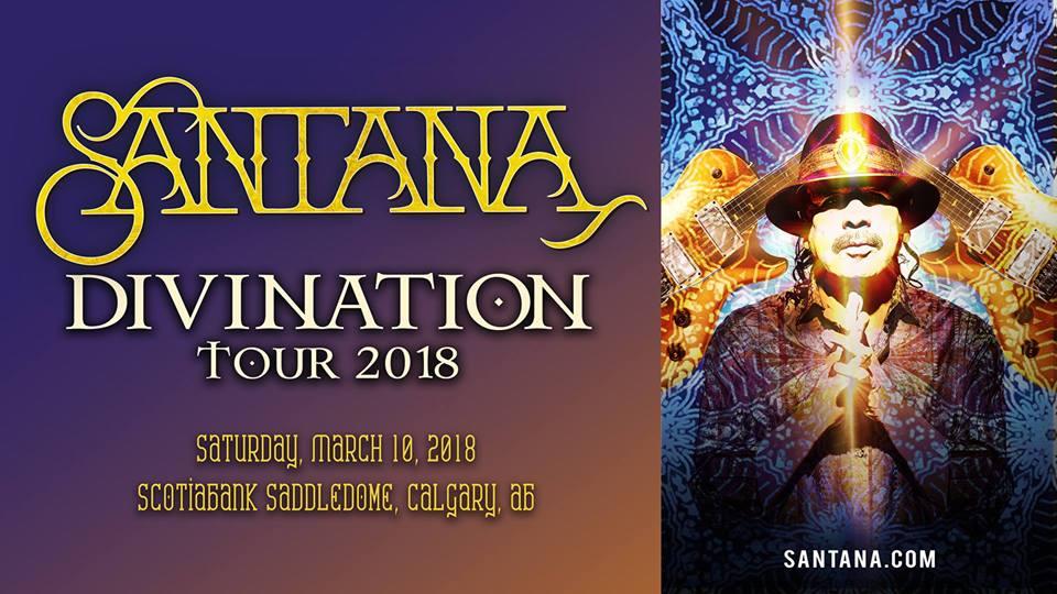 Marzo 10 Santana - Divination Tour 2018- Eventos Calgary AB- Eventos Latinos en Alberta