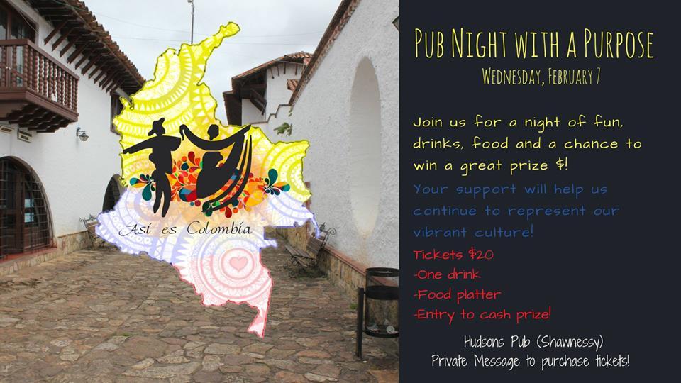 Miercoles Febrero 7-2018 - Pub Night with a Purpose- Eventos Latinos en Alberta- Eventos Calgary AB Canada